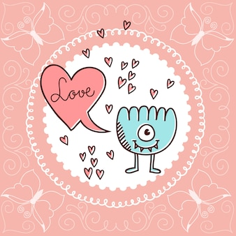 バレンタインデーイラストスピーチバブルラブ、ハーツ、かわいいモンスター