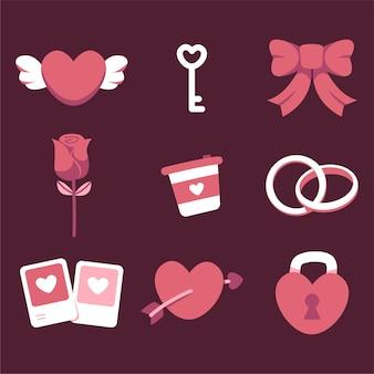 カードポスターやステッカーのバレンタインデーのイラスト