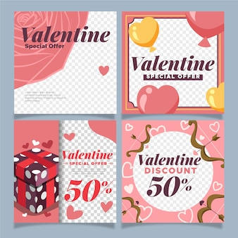 Valentine's day instagram post pack