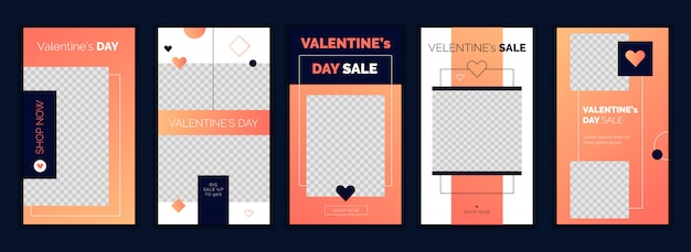 Valentine's day instagram stories design template