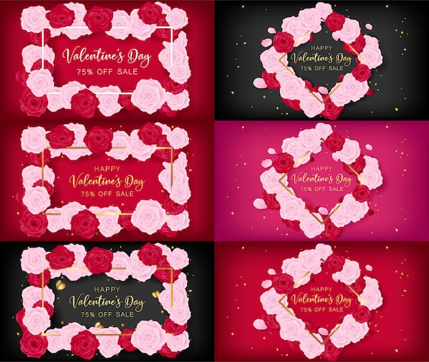 Valentine's day invitation cards as top view of floral frame