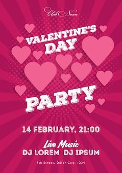 Приглашение на день святого валентина. шаблон для клуба, музыкальных вечеров. выступление музыкантов, ди-джеев. ночная праздничная вечеринка. фон с сердечками. векторные иллюстрации.