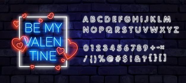 Valentine's day is a proposal, a neon style banner template.