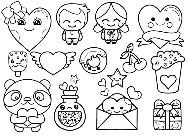 Valentine's day kawaii icons set
