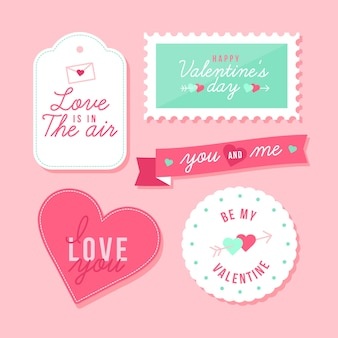 Valentine's day label/badge collection in flat design