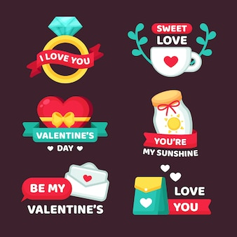 Valentine's day label collection flat design style