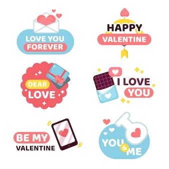 Valentine's day label pack in flat design