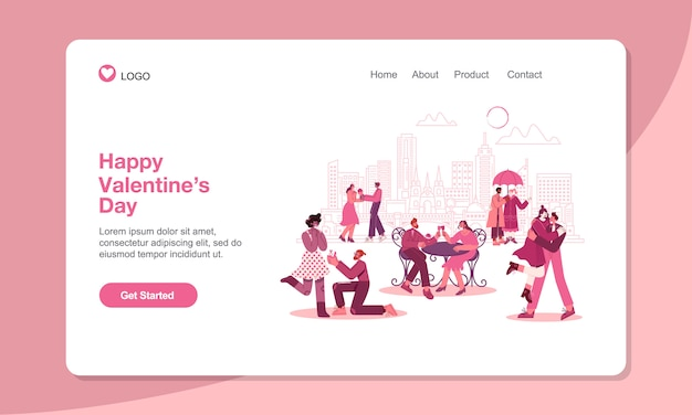 Valentine's day landing page template. romantic couples in love with modern flat style vector illustration. suitable for web, banner, poster and landing page