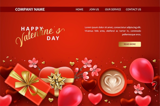 Valentine's day landing page template with a gifts, a cup of coffee and balloons