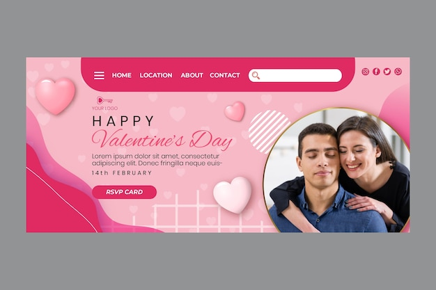 Valentine's day landing page Free Vector