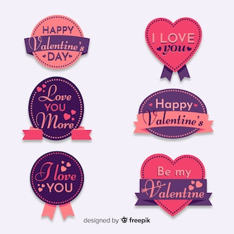 Valentine's day lettering badges collection