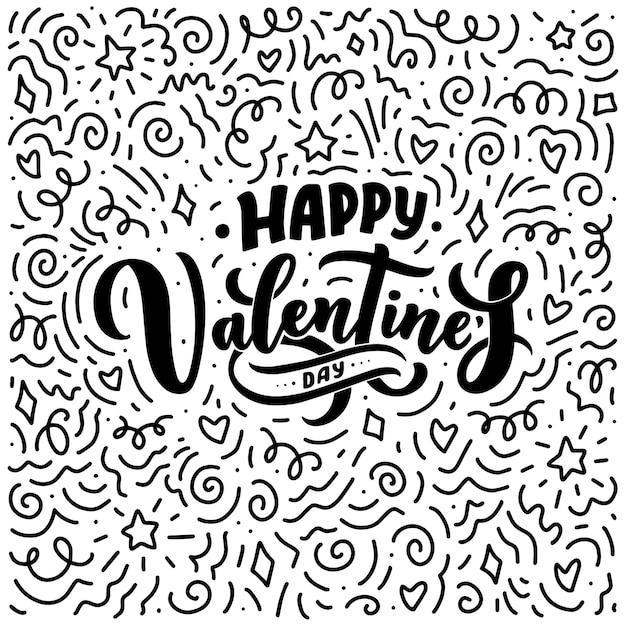 Valentine's day lettering illustration.