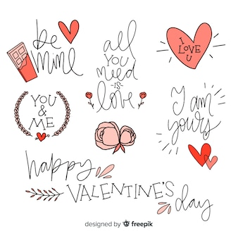 Valentine's day lettering quote collection