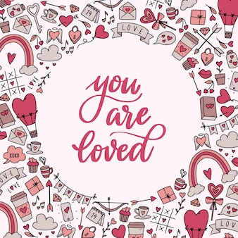 Valentine's day lettering quote and frame