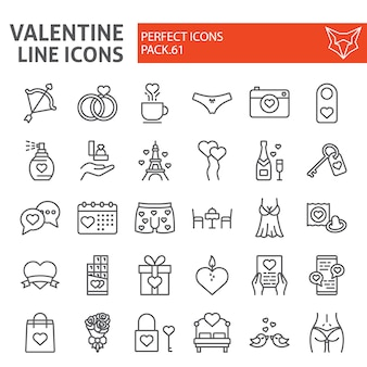 Valentine s day line icon set