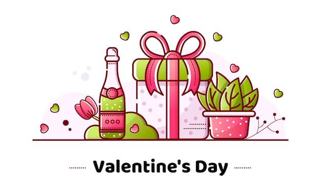 Valentine's day linear banner