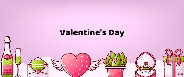 Valentine's day linear sweet background