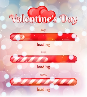 Valentine's day loading bar on a bright background