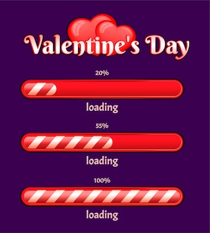 Valentine's day loading bar on a dark background