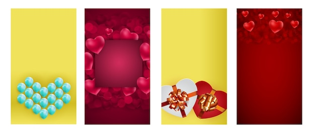 День святого валентина любовь баннер, набор историй instagram.