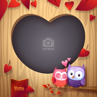 Valentine's day love birds cuddling photo frame