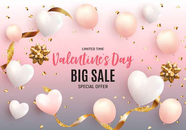 Valentine's day love and feelings sale background .  illustration
