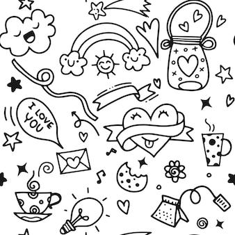 バレンタインデーラブ&ハーツdoodles design elements