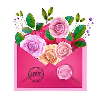 バレンタインデーのラブレター、ピンクの封筒、花、バラ、緑の葉のグリーティングカード。