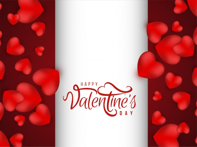 Valentine's day lovely red background with hearts