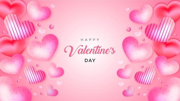 발렌타인 데이 많은 달콤한 마음 현실적인 스타일 배경 또는 배너 프리미엄 벡터