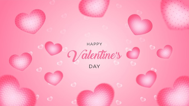 Valentine's day many sweet heart realistic style pink background or banner premium vector