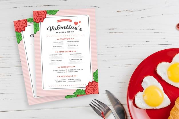 День святого валентина шаблон меню плоский дизайн стиль