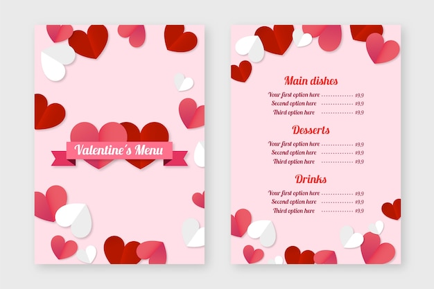 Valentine's day menu template in flat design