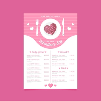 Valentine's day menu template flat design