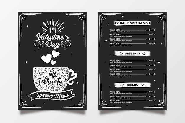 Valentine's day menu template hand drawn