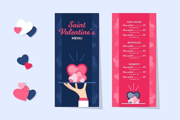Шаблон меню на день святого валентина в стиле плоский дизайн