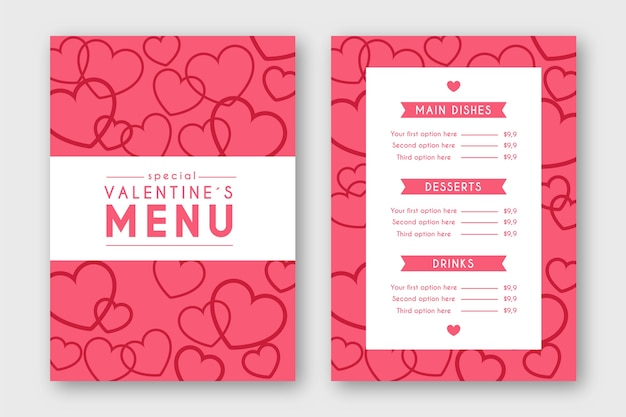 Шаблон меню дня святого валентина в плоском дизайне