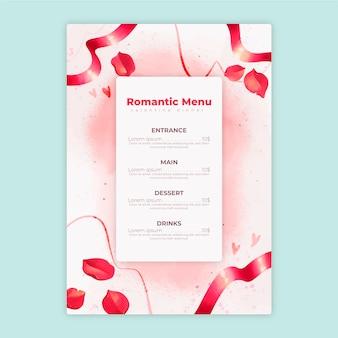 Шаблон меню дня святого валентина в акварели