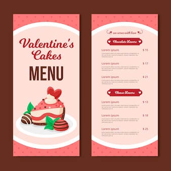 Valentine's day menu template with cake
