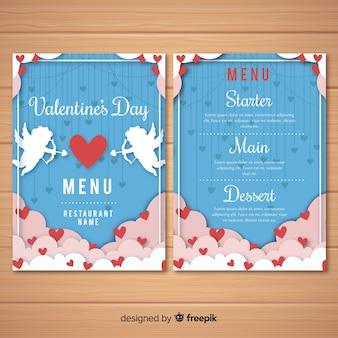 Шаблон меню ко дню святого валентина