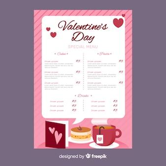 Valentine's day menu template