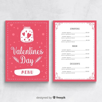 Valentine's day menu template