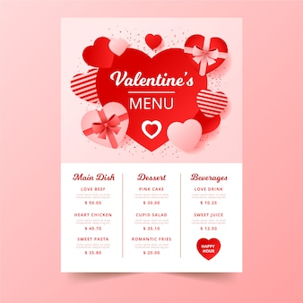 Valentine's day menu with chocolate boxes