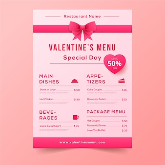 Valentine's day menu with cute pink ribbons