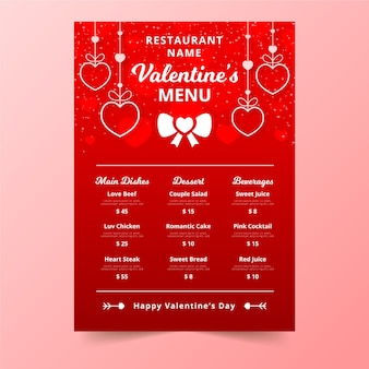 Valentine's day menu with hanging lovely hearts