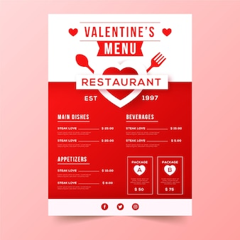 Valentine's day menu with hearts and cutlery