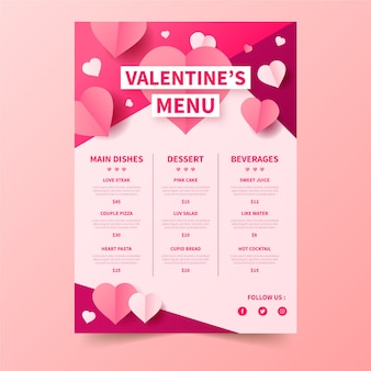 Valentine's day menu with prices