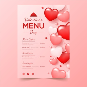 Valentine's day menu with red shaped hearts