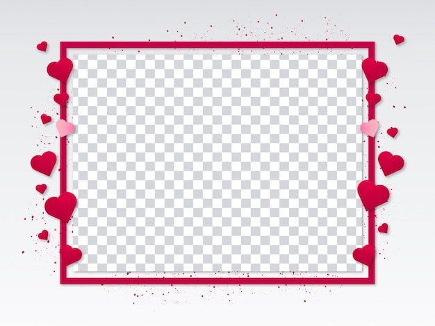 Valentine's day modern frame with hearts