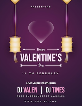 Valentine's day music party invitation card, flyer, or poster with hanging gold lanterns and bubble heart